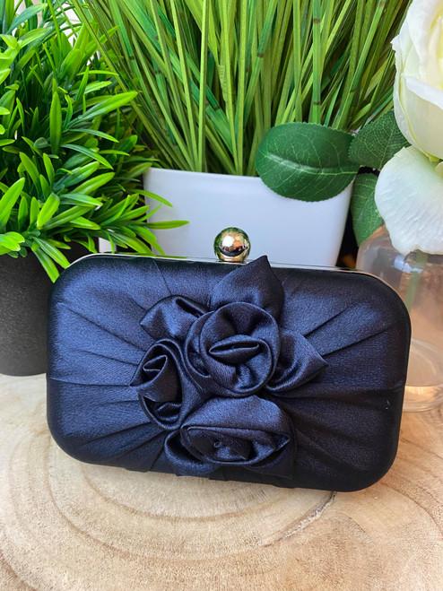 Dark Navy Satin Floral Detail Box Clutch Bag