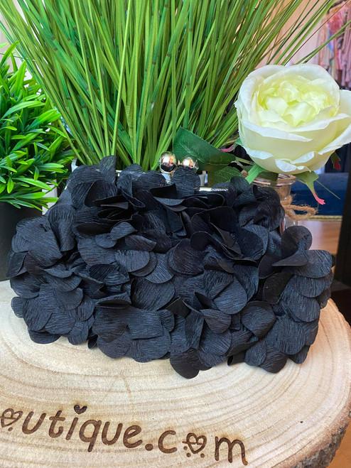 Black Kiss Lock Handbag Satin Flower Evening Clutch Bag