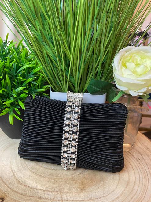 Black Satin Diamante Embellished Clutch Bag