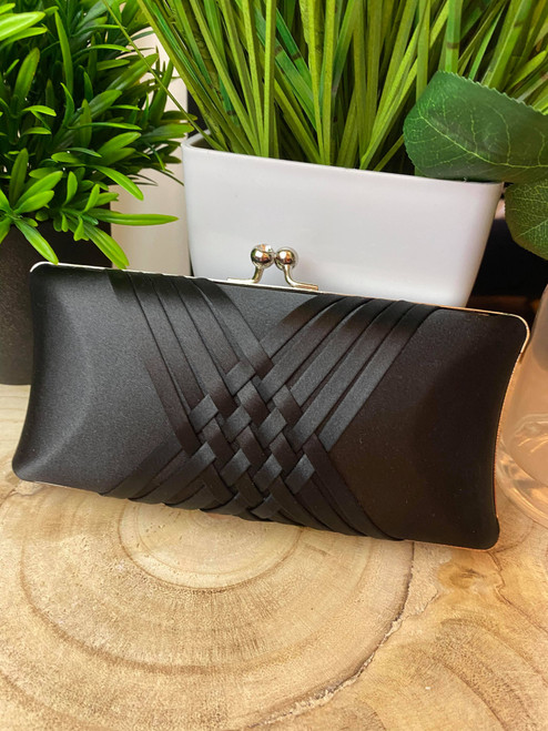Woven Detail Black Satin Evening Clutch Bag