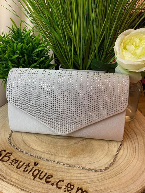 Light Grey Diamante Design Evening Flap Over Party Clutch Bag