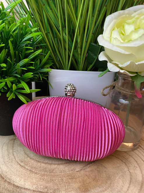 Hot Pink Ruched  Crystal Satin Evening Clutch