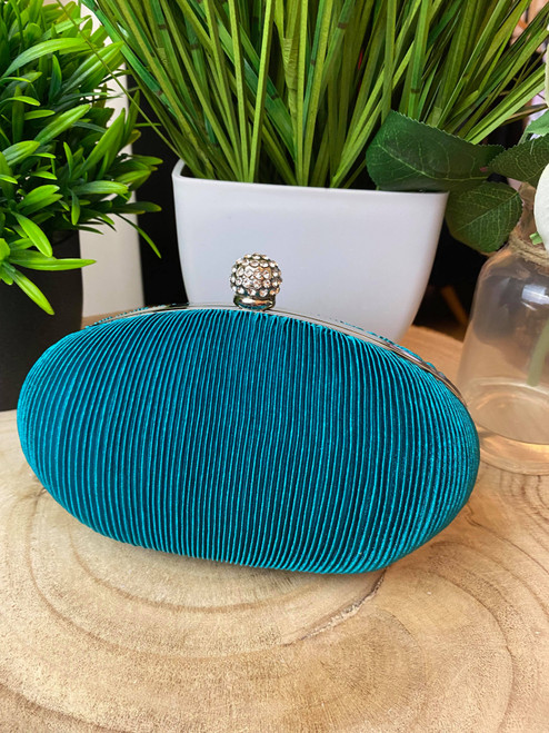Turquoise Ruched Crystal Satin Evening Clutch