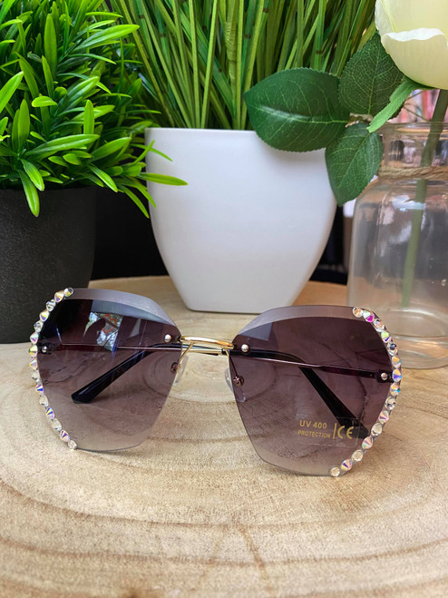 Diamante Rimless Black Sunglasses