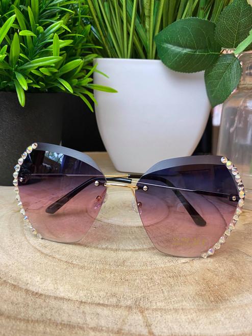 Diamante Rimless Purple Sunglasses