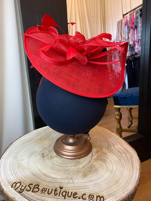Clarence Red Sinamay Feather Fascinator