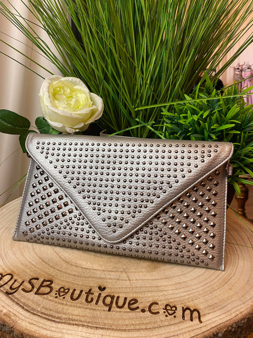 Mateo Studded Silver Chain Strap Envelope Clutch