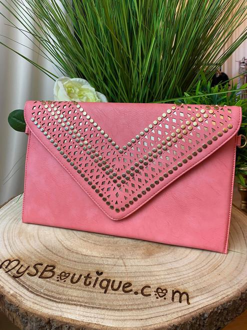 Scarlett Coral Studded Clutch Bag