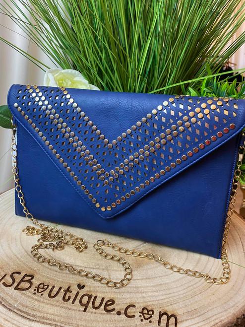 Scarlett Blue Studded Clutch Bag