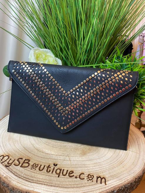 Scarlett Black Studded Clutch Bag