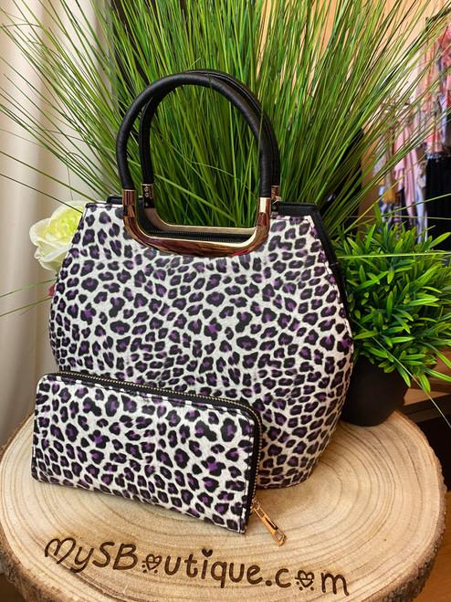 I'd Shoot You Before I'd Shoot My Cat Leopard Print Bowler Bag / Purse Set