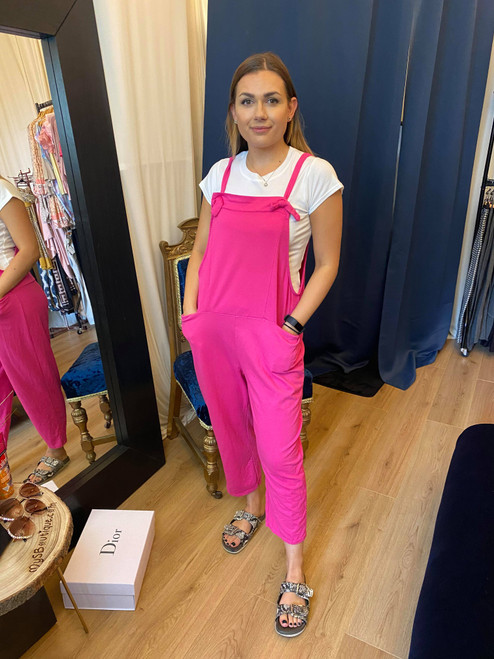 Bow Down Hot Pink Cropped Dungarees