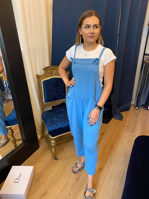 Bow Down Sky Blue Cropped Dungarees