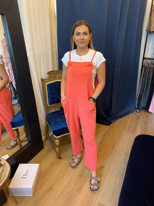 Bow Down Coral Cropped Dungarees