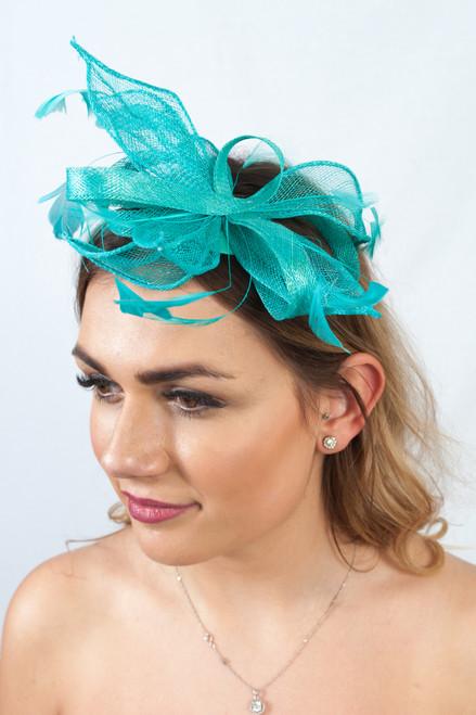 Turquoise Sinamay Feather Loop Fascinator