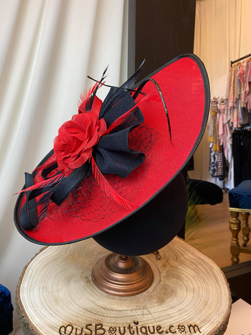 Lucia Red & Black Extra Large Sinamay  Feather Hatinator Fascinator