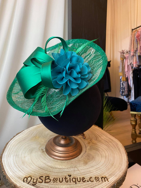 Emerald Green Lace Overlay Floral Fascinator