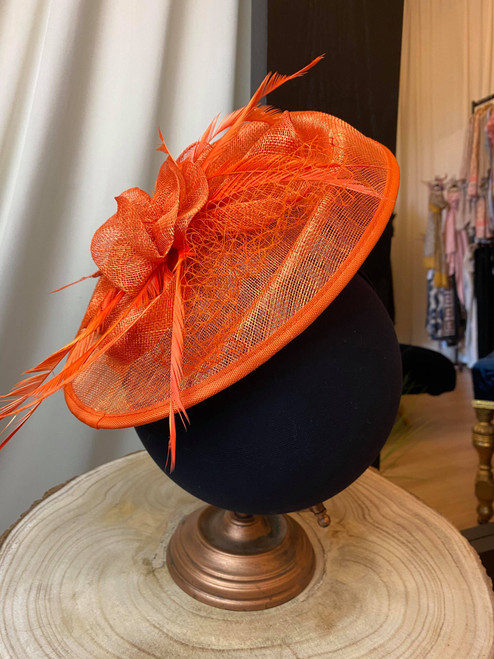 Occasion in Orange Oval Feather Fascinator