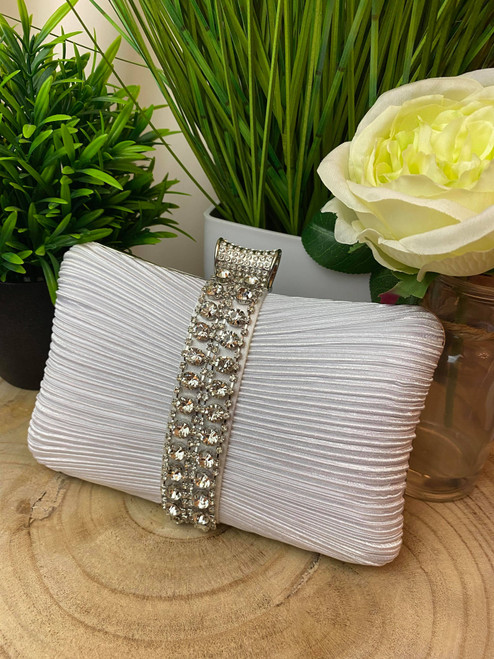White Ruched Diamante Occasion Clutch Bag