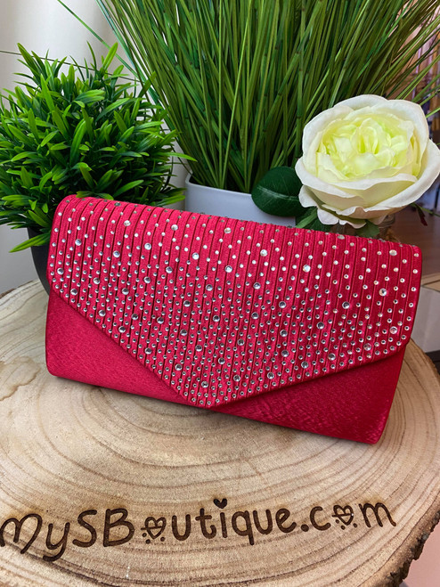 Red Diamante Design Evening Flap Over Party Clutch Bag