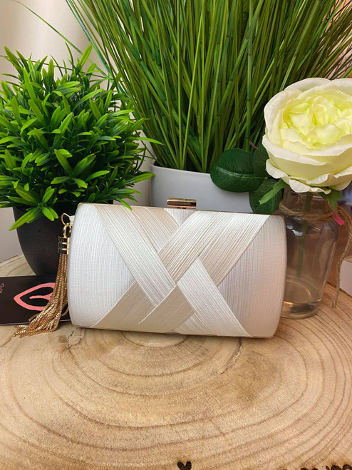 Ivory Gold Chain Detail Pleated Knot Detail Clutch Bag