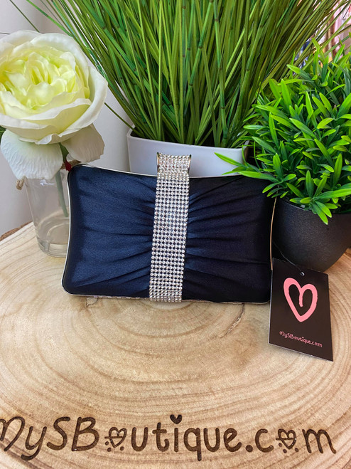 Navy Ruched Diamante Occasion Clutch Bag