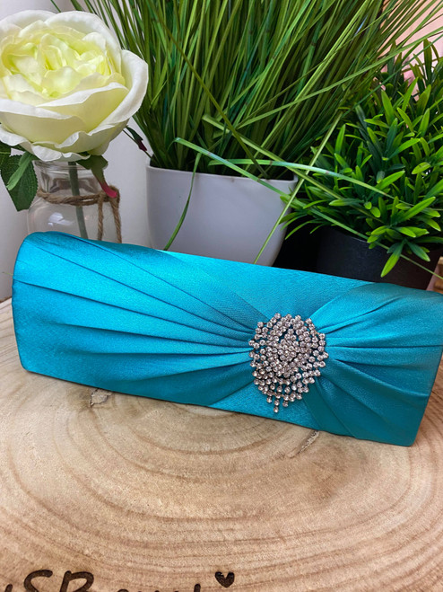 Turquoise Ruched Satin Occasion Clutch With Crystal Flower Decoration