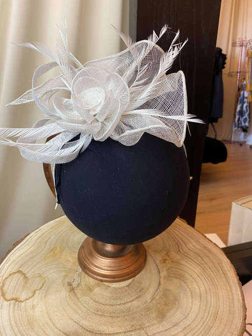 Opulent White Sinamay Floral Feather Fascinator