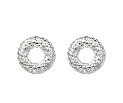 She's A Classic Silver Circle Stud Earrings