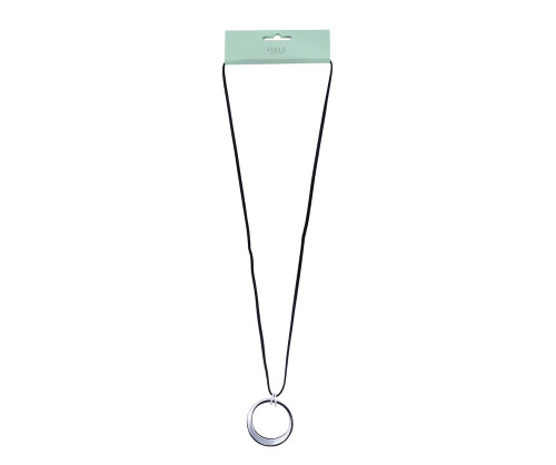 Fable England Silver Twisted Hoop Pendant Leather Necklace