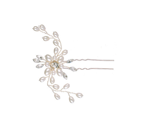RSVP Floral Diamante Crystal &  Pearl Hairpin