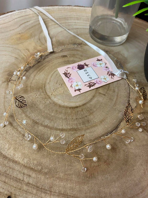 Crystal & Gold Pearl and Leaf Wire Hairband