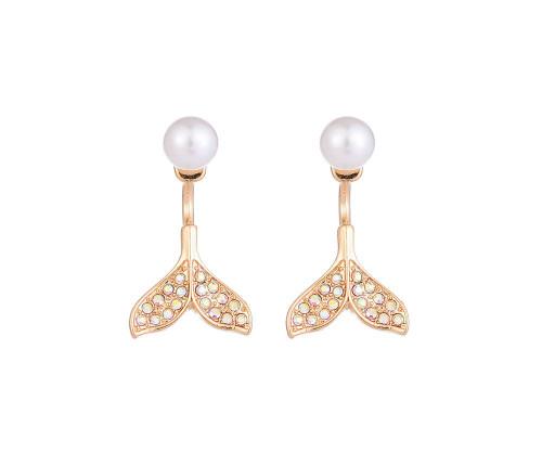 Mermaids Lagoon Gold Mermaid Tail Earrings With Pearl Detailing
