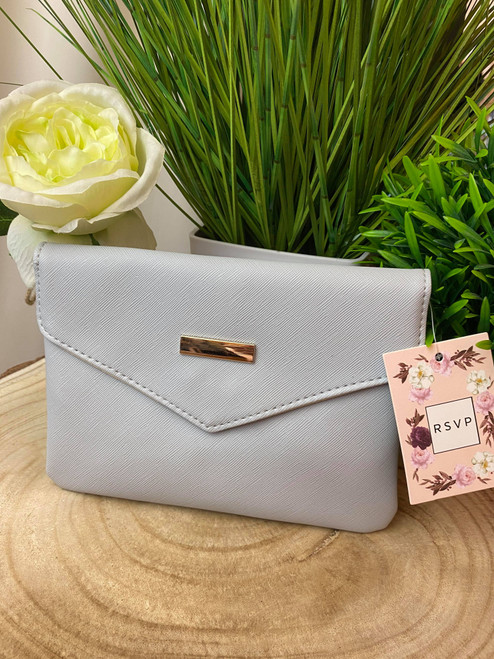 Parisian Chic Grey Envelope Clutch Bag