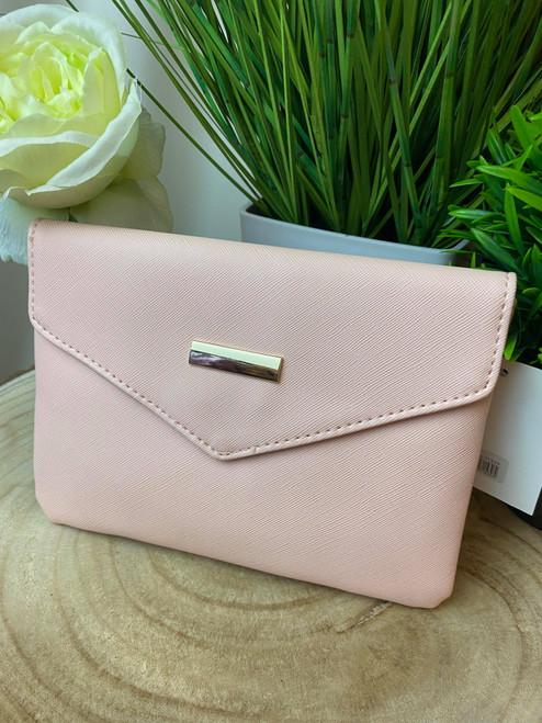 Parisian Chic Pink Envelope Clutch Bag