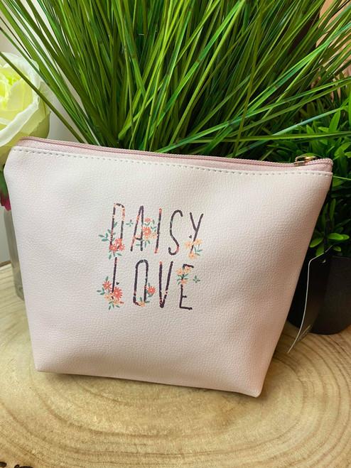 Pale Pink Floral Daisy Love Slogan Makeup Bag