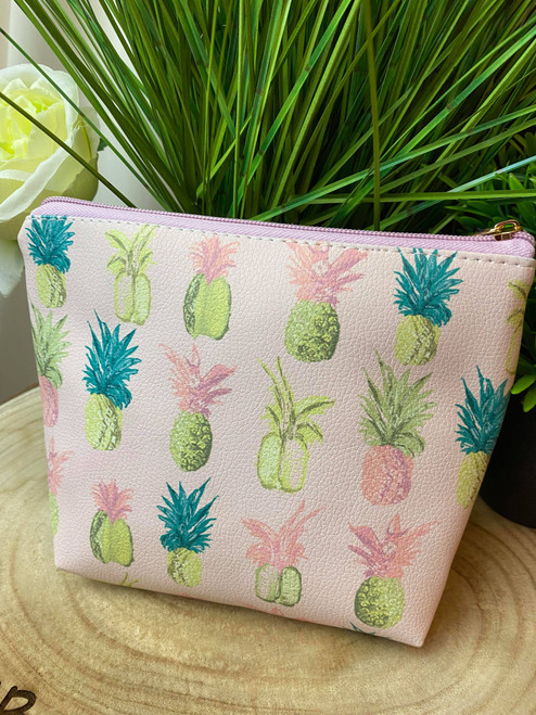 Shake Your Pineapples Pink Pineapple Print Makeup Bag