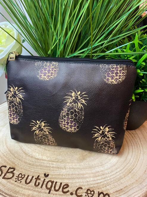 Pineapples At Sunset Black and Gold Pineapple Print Makeup Bag