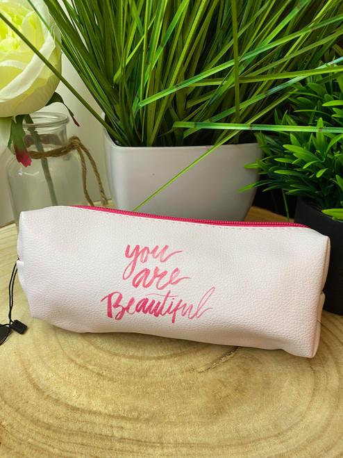 'You are Beautiful' Pink Small Makeup Bag/ Makeup Brush Bag
