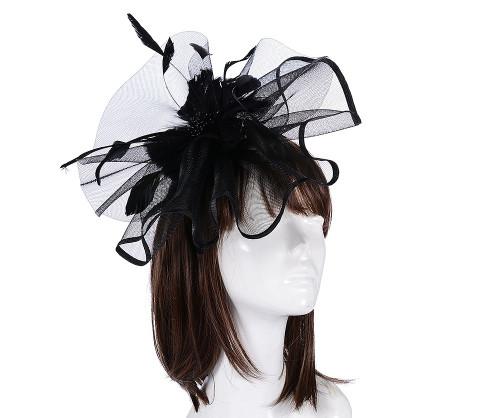 Elegant Black Large Floral Feather Fascinator