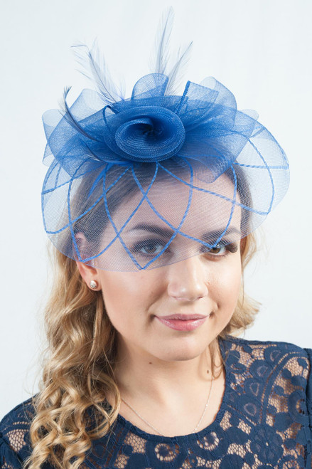 Blue Geometric Floral Frill Veil Fascinator
