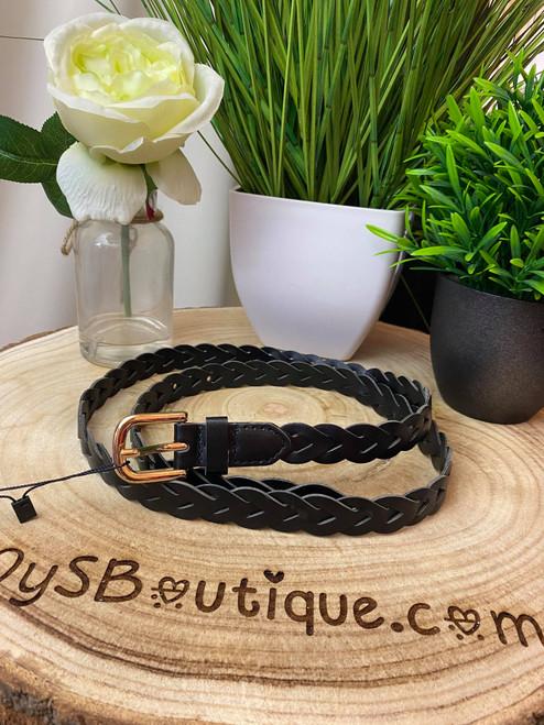 Charlotte Black Plaited Belt