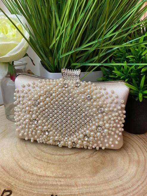 Cream Diamante Embellished Clutch Bag