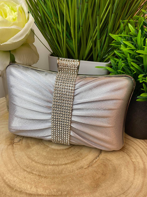 Silver Ruched Diamante Occasion Clutch Bag