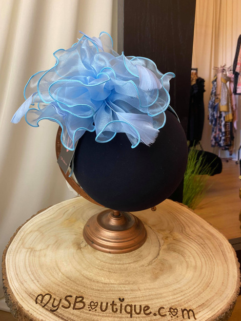 Baby Blue Organza Tulle Feather Fascinator