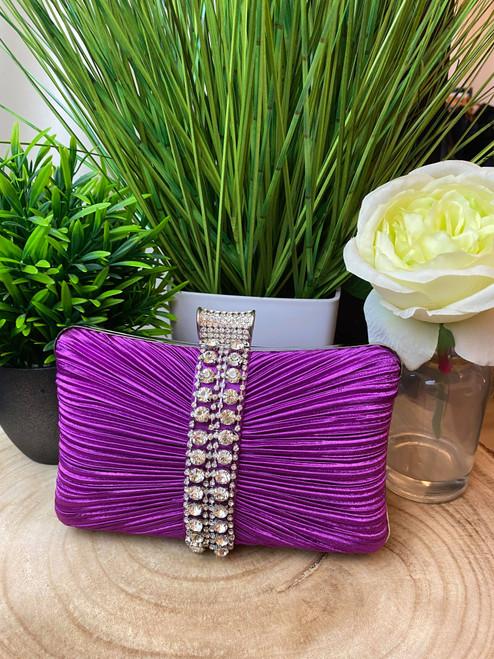 Purple Ruched Diamante Occasion Clutch Bag