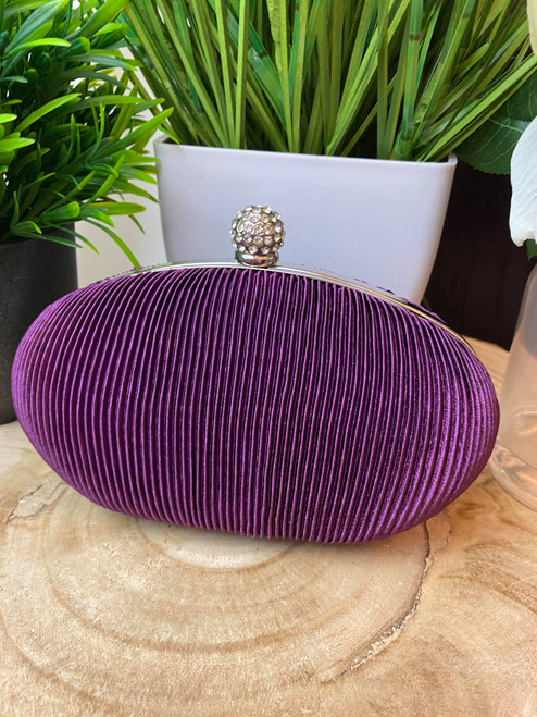 Purple Ruched Crystal Satin Evening Clutch