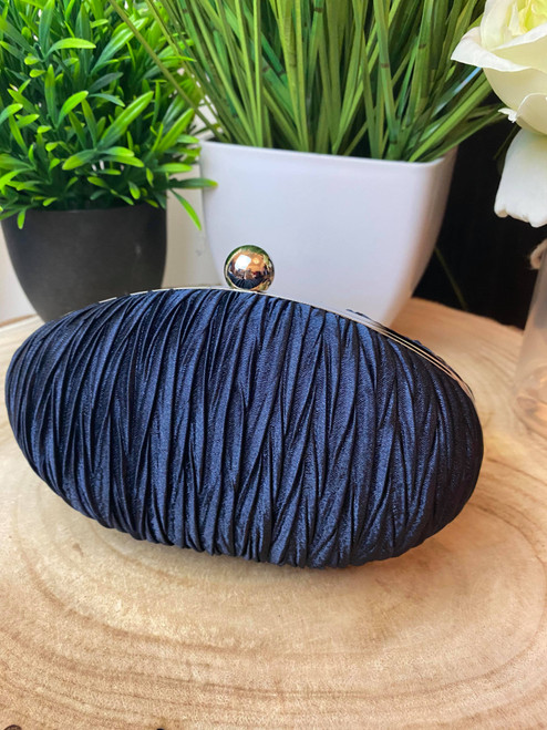 Navy Ruched Crystal Satin Evening Clutch