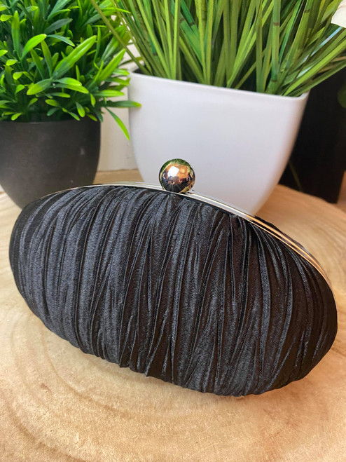 Black Ruched Crystal Satin Evening Clutch