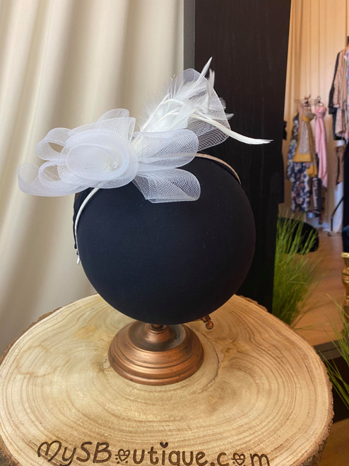 Luciene White Floral Feather Fascinator